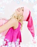 配件箱快乐的礼品女孩辅助工圣诞老人 免版税库存照片