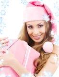 配件箱快乐的礼品女孩辅助工圣诞老人 免版税库存图片