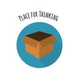 配件箱概念外部认为 在平的样式的空的箱子 免版税库存图片