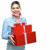 配件箱礼品查出的白色 企业奖金 2 business woman 免版税图库摄影