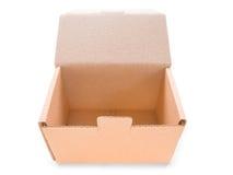 配件箱纸板查出的开放白色 免版税库存照片