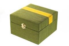 配件箱绿色丝绸 图库摄影