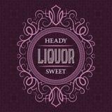 酒兴奋美好的标签设计模板 与文本的被仿造的葡萄酒框架在样式背景 皇族释放例证