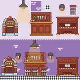 酒吧与家具的餐馆咖啡馆 免版税库存照片