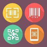 酒吧和Qr代码象 与扫描条形码的智能手机标志 有象的圈子平的按钮 免版税库存照片