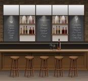 酒吧咖啡馆啤酒自助食堂柜台书桌内部传染媒介 免版税库存照片