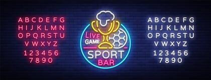 酒吧在霓虹样式的酒吧商标 足球迷俱乐部,霓虹灯广告、轻的横幅、啤酒标签和足球或者杯子活队的 向量例证
