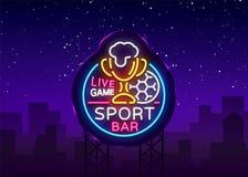 酒吧在霓虹样式的酒吧商标 足球迷俱乐部,霓虹灯广告、轻的横幅、啤酒标签和足球或者杯子活队的 库存例证