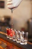 酒吧招待连续装载一些块玻璃 免版税图库摄影