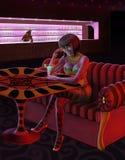 酒吧的俏丽的妇女 免版税库存照片