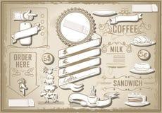 酒吧菜单的葡萄酒图表元素 免版税图库摄影