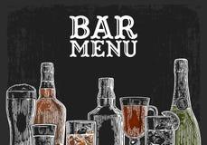 酒吧菜单酒精饮料的模板 向量例证