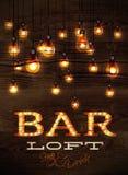 酒吧顶楼发光的光 免版税库存照片