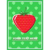 酒吧餐馆草莓的海报在绿色 库存照片