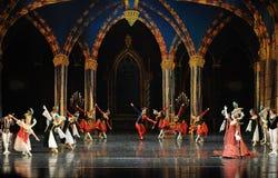 酒吧mitzvah这第三行动芭蕾天鹅湖的小丑活跃大气这王子 库存照片