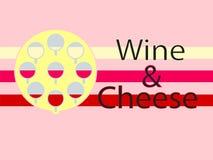 酒和乳酪略写法背景 平的设计 库存例证