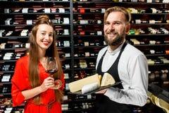 酒和乳酪degustation 免版税库存照片