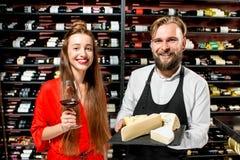 酒和乳酪degustation 免版税图库摄影