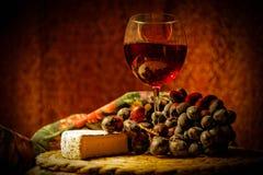 酒和咸味干乳酪乳酪 免版税库存照片