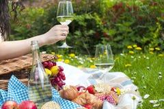 酒和新月形面包在野餐 一杯酒在妇女` s手上 鲜美食物 浪漫周末 文本的空位 库存照片