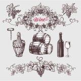 酒和葡萄酒酿造葡萄酒集合 库存例证