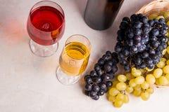 酒和葡萄 在玻璃和瓶的白色和红葡萄酒胜利 库存照片
