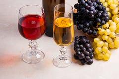 酒和葡萄 在玻璃和瓶的白色和红葡萄酒胜利 图库摄影