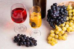 酒和葡萄 在玻璃和瓶的白色和红葡萄酒胜利 免版税库存照片