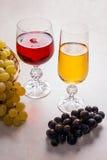 酒和葡萄 在玻璃的白色和红葡萄酒在轻的大理石b 免版税图库摄影