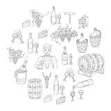 酒和酿酒集合传染媒介例证 免版税库存图片