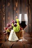 酒和青纹干酪 免版税图库摄影