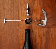 酒品尝师成套工具 酒工具 库存照片