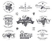 酒商标,标号组 酿酒厂,酒铺,葡萄园证章汇集 减速火箭的饮料标志 印刷手拉 库存例证