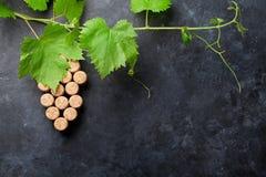 酒塞住葡萄形状和藤 免版税库存照片
