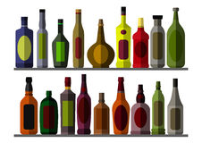 酒客的汇集瓶 库存照片