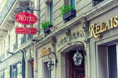 酒店圣雅克旅馆入口  免版税图库摄影