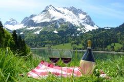 酒服务在一顿野餐在高山草甸。Switzer 免版税库存图片