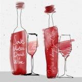 酒杯和瓶,红色水彩速写了剪影 免版税库存图片