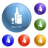 酒杯瓶象集合传染媒介 库存例证
