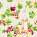 酒杯,瓶,乳酪,叶子,葡萄 无缝的背景 水彩 库存照片