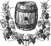 酒桶和葡萄树 免版税库存照片