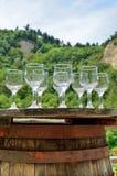 酒测试的玻璃在一个老葡萄酒桶 库存照片