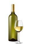 酒瓶和葡萄酒杯 免版税库存图片