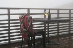 酒瓶和葡萄酒杯 图库摄影