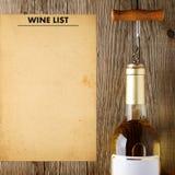酒瓶和酒类一览表 免版税库存图片