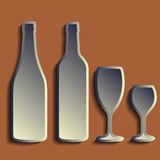 酒瓶标志集合 瓶象 Ð ¡假山庭园 免版税库存图片