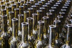 酒瓶背景,对酒的葡萄酒酿造过程为装瓶做准备 库存图片