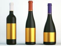 酒的三个瓶与空白的金黄标签 向量例证