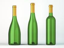 酒的三个绿色瓶与金黄标签 向量例证