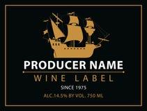 酒的标签用葡萄 免版税库存图片